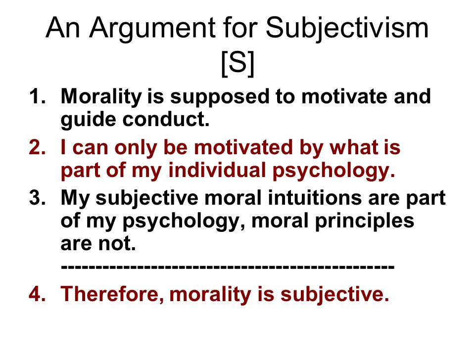 An Argument for Subjectivism [S]